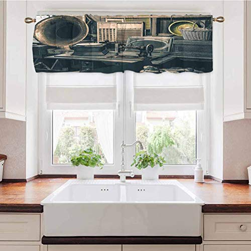 Curtain Valance Antique Store Inventory Old Gramophone Sewing Machine and Other Early Twenty Century Stuff Insulated Kitchen Curtain Valances Perfect for The Bathroom and Budget Friendly 54 x 18 Inch