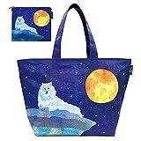 DESIGNERS JAPAN 保冷バッグ レジャーバッグ ピクニック BBQ 簡易保冷機能 収納ポーチ付き (満月とオオカミ)