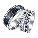 Daesar His and Her Rings Wedding Sets Men Ring 8MM Blue Carbon Fiber Cubic Zirconia Square Womens Rings Silver Plated & Mens Rings Stainless Steel Rings Women Size 9 & Men Size 12