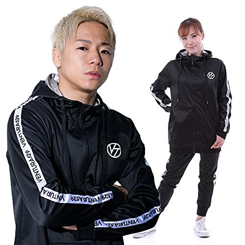 VENTURAsss K-1 武尊 サウナスーツ トレーニングウェア メンズ レディース 上下セット 洗濯可 (黒, M)