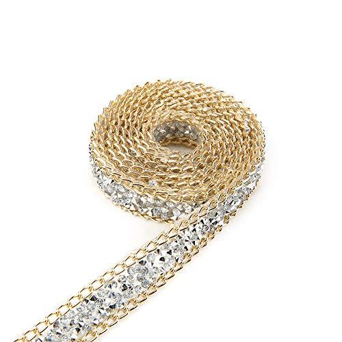 Akozon Diamond Ribbon 5 Yard 15mm Gold Edge Silver Diamond Wrap Roll Rhinestone Ribbon Decoration Wedding Cake Bridal