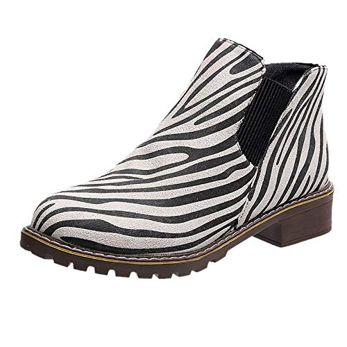 Simayixxch Women Zebra-Striped Boots Round Toe Low Heel Slip-On Ankle Boots Fashion Print Short Boots Party Casual Bootie White