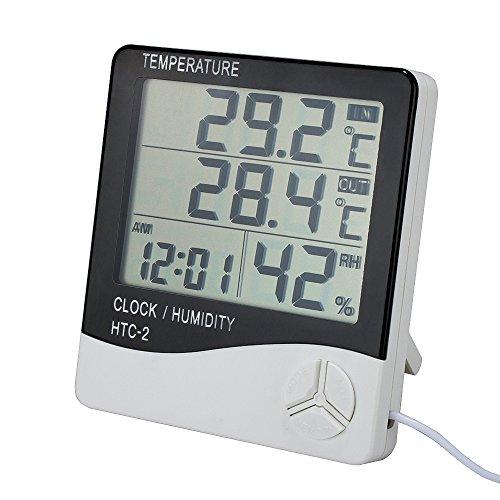 VADIV Digitales Innen Außen Thermometer, Indoor & Outdoor Thermo Hygrometer mit Kabel und LCD Großes Display Luftfeuchtigkeit Monitor Digital Thermometer mit Fühler Alarm Wecker Funktion - 1.4M Kabel