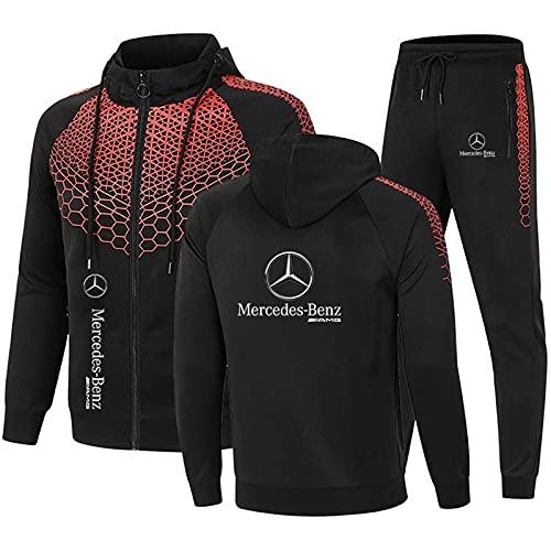 MAUXpIAO Herren Sportswear Anzug Kapuzenjacke und Sporthose, Outdoor Casual Zip Cardigan Trainingsanzug Jogginganzug Mode/Schwarz 2 / XL