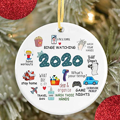 Dolala Christmas Decorations Ornaments, New Year Outdoor/Indoor Christmas Tree Hanging Sign, Creative Gift Covid_Christmas Personalize Shaped Ornament (C)