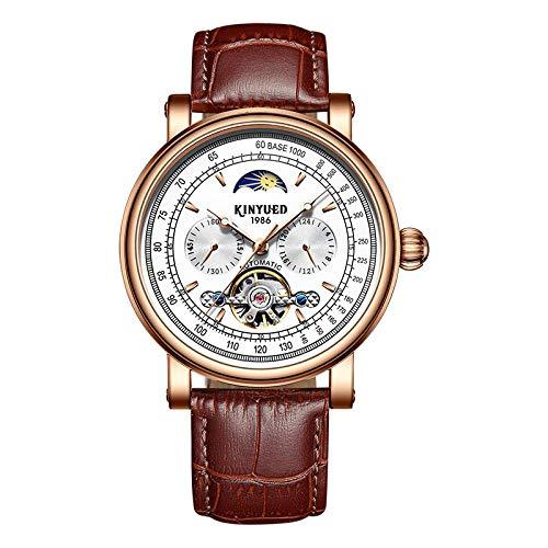 Smartwatches,KINYUED Tuofei Lunar Phase Nachtlicht Herren Automatic Star Machinery Watch Muschel Rose Weißer Brauner Gürtel