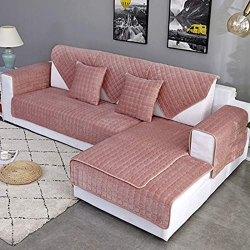 XIAOHUAHUA Sofa Cover, Sectional Couch Covers, Sofa Slipcover Seat Cushion Cover for Dog Cat Pet Loveseat Recliner Leather L Shaped Sofa,Pink,110×240cm
