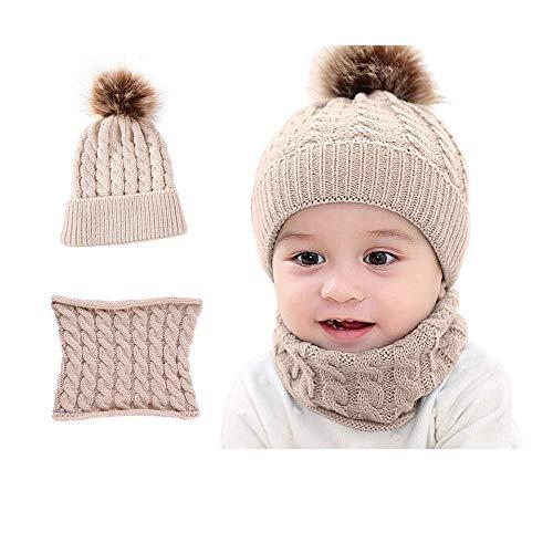 Miagon 2 Stücke Schöne Weiche Kleinkind Kinder Baby Winter Warme Strickmütze Beanie Cap & Neck Warmer Kreis Loop Schal für Mädchen Jungen 0-3 Jahre