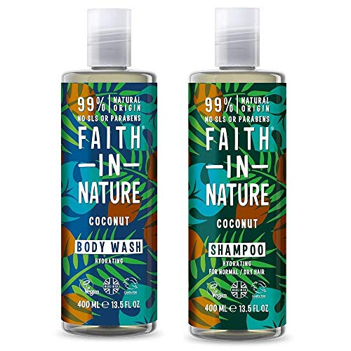 Faith In Nature Coconut Shampoo 400ml and Body Wash 400ml Hair & Body Duo | Vegan Friendly | Cruelty Free | 99% Natural Fragrance | Free From SLS or Parabens