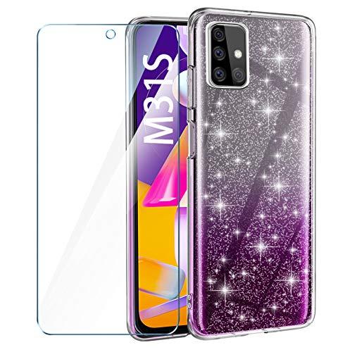 AROYI Hülle Kompatibel mit Samsung Galaxy M31S Und Panzerglas, Handyhülle Hülle Liquid Transparent Glitzer Slim Glitzer Anti Gelb Soft Silikon dünn Hülle Kompatibel mit Samsung Galaxy M31S