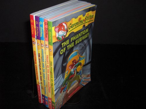 Geronimo Stilton 5 Book Set: Valley of the Giant Skeletons/Geronimo and the Gold Medal Mystery/The Temple of the Ruby of Fire/The Phantom of the Subway/Christmas Catastrophe (Volumes 13,14,32,33 and Special Edition)