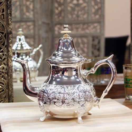Grote Marokkaanse theepot, Grote Arabische munttheepot, Zilveren theepot