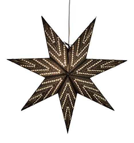 Konstsmide 2959-780 zwarte papieren ster, geperforeerd en goudkleurig geborduurd, 60 x 60 cm/voor binnen (IP20)/230 V binnen/zonder lamp