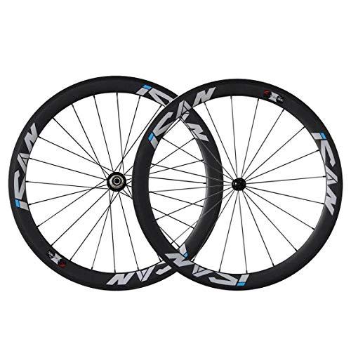 Triaerowheels 700C - Neumáticos ligeros para bicicleta de carretera con neumáticos tubeless Ready de 23 mm de ancho, juego de ruedas de carbono, neumáticos de 38 mm, radios CN