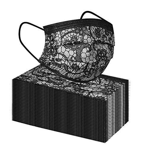 Barkoiesy Unisex 50 Stück Einweg 3 lagig Mund-Nasen-Schutz, Modische Spitze Motiv Atmungsaktive Multifunktionstuch Bandana Halstuch Schals (A-03, Free Size)