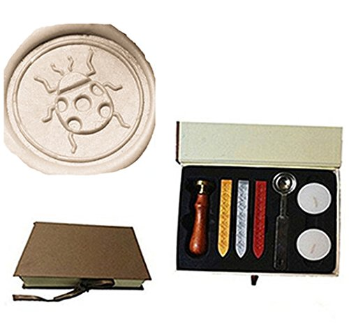 MDLG Vintage Beetle Ladybug Custom Picture Logo Wedding Invitation Wax Seal Sealing Stamp Rosewood Handle Sticks Melting Spoon gift Box Set Kit