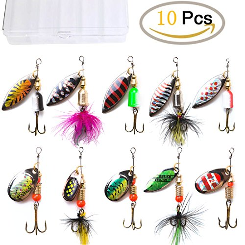 cheap King Forest 10 Piece Fishing Bait Spinnerbait, Perch, Trout, Salmon, Zander, Metal Spinner …