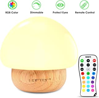 Baby Night Light, Mushroom Kids Child Night Lights with 16 Colors, Low-wattage, Adjustable Brightness, 4 Lighting Modes Bedside Soft Eye Caring LED Nursery Lamp for Feeding, Nursing, Changing Diaper