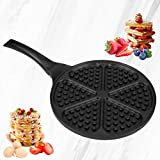 Waffle Pan,Ejoyway 10.4'' Nonstick Waffle Maker Stovetop Waffle Iron Cast Aluminum Waffle Baking Plates Waffle Mold Bakeware Easy to Make Waffles with Heat-insulation Handle …