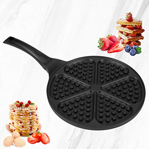 Waffle Pan,Ejoyway 10.4'' Nonstick Waffle Maker Stovetop Waffle Iron Cast Aluminum Waffle Baking Plates Waffle Mold Bakeware Easy to Make Waffles with Heat-insulation Handle