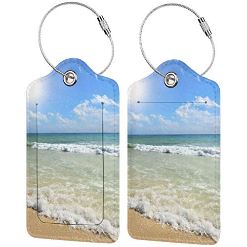 Summer Beach Blue Sea Palm Tree Sunshine PU Leather Luggage Tags Personalized Travel Name ID Labels Baggage Tag with Full Back Privacy Cover and Stainless Steel Loop