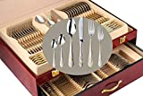 Venezia Collection Gold Flatware Serving Set for 12, 75-Pc Luxury Dining Silverware...