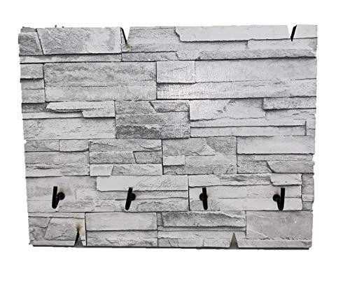 Ducomi Llavero de pared de madera – Colgador de llaves de pared para casa y oficina – Panel colgador compacto con 4 ganchos para entrada – Tablón vacíabolsillos 19,5 x 15 x 1,5 cm (Stone)