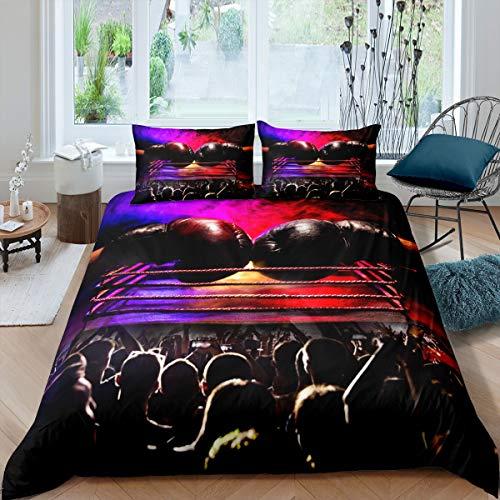 Homemissing Juego de ropa de cama de boxeo para niños, niñas, hombres, guantes de boxeo rojos, funda de edredón para atleta competitiva, 3 piezas dobles