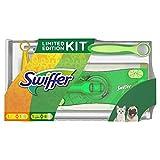 Swiffer Kit con 1 Scopa, 8 Panni per Pavimenti e 1 Piumino, 1 Ricambio, Ottimale per Peli di Animali