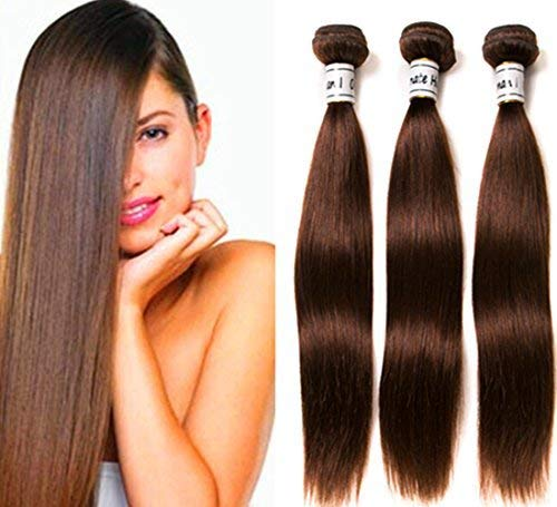 Ornate Hair 8A Grade Virgin Brazilian Brown Straight Hair 3 Bundles Unprocessed Remy Human Hair Weave Extensions Color #4 Light Brown Hair Bundles(8 10 12inch)