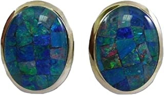 Vics Fine Jewelry Mosaic 13.1 mm x 17.8 mm Opal Earring with 14k Yellow Gold