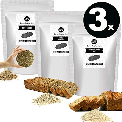 MITOBACK - 3er Set Brotbackmischungen Probierpaket aus: 1 x Grobes Körnerbrot, 1 x Kartoffel-Leinsamen Brot, 1 x Brot-Taler - Eiweiß Brotbackmischung: Low Carb, Glutenfrei, Vegan, Ohne Zucker und Mehl
