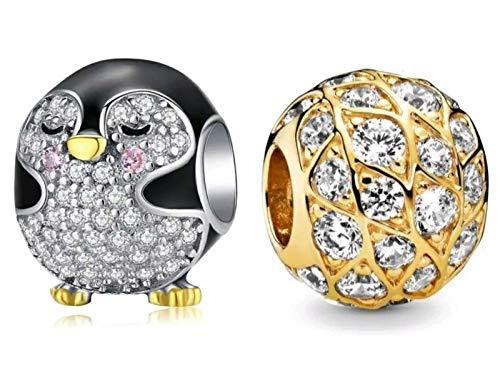 Marni's - 2 Charms Pandora Pingüino y Bolita dorada con Cristales | Colgantes mujer Plata de Ley | Compatibles Pulsera Pandora Charm Plata | Regalos Madre | Regalos para tu Novia originales