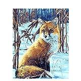 Hoseten Digital Painting Snow Fox DIY Oil Painting Set 40*50CM Canvas Frameless Home Decoration Acrylic Modern Art Painting.