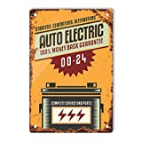 Oddss Retro Shop Cartel de chapas, Vintage Auto Elegtric Sign Lightweight Aluminum Wall Art Decor...
