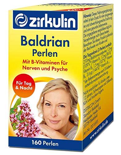 Zirkulin Baldrian Perlen, Nahrungsergänzungsmittel mit B-Vitaminen für Nerven und Psyche, Baldrian-Tabletten zur Einstimmung auf den Schlaf (1 x 160 Perlen)