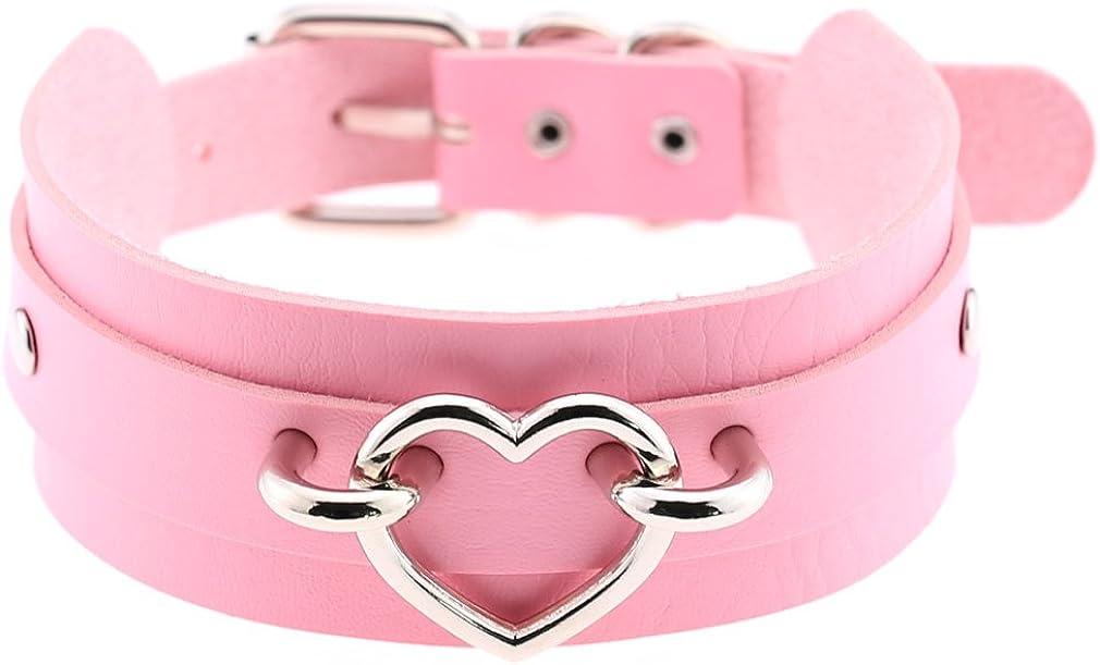 eYLun Women Leather Necklaces Choker Girl Heart Punk Rock Adjustable Collar Necklaces