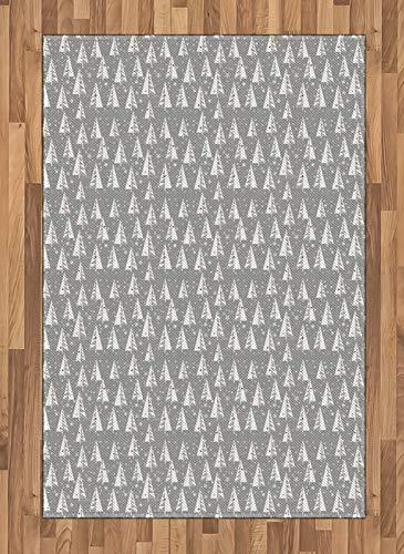 ABAKUHAUS Kerstboom Tapijt, sneeuwvlokken Achtergrond, vlak Geweven Vloerkleed voor Woonkamer, Slaapkamer, Eetkamer, 120 x 180 cm, Pale Taupe en Vermilion