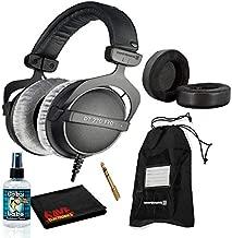 Beyerdynamic DT 770 Pro Closed-Back Studio Mixing Headphones 80 Ohm Bundle with Dekoni Audio Choice Hybrid Earpads, Soft Case, and 6AVE Headphone Cleaning Kit