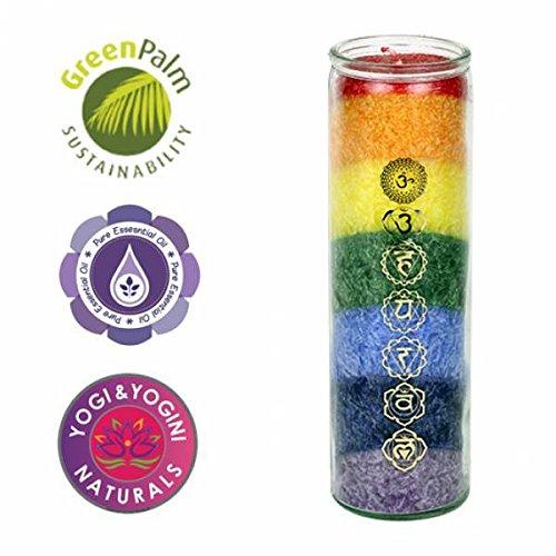 Panotophia 7 Chakra Kerze Chakren Glaskerze Ritualkerze mit ätherischen Ölen
