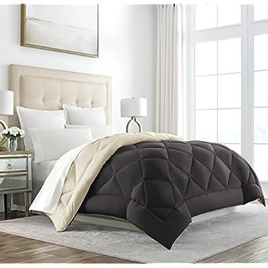Sleep Restoration Goose Down Alternative Comforter - Reversible - All Season Hotel Quality Luxury Hypoallergenic Comforter -King/Cal King - Brown/Cream