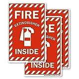 SmartSignFire Extinguisher Inside Label | 4' x 6' Engineer Grade Reflective, Pack of 3