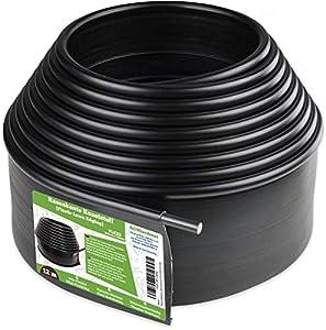 Flexible Borde de Jardín - Bordillo Escondido Plastico, Longitud 6 m - Instalación Simple, Flexibilidad Máxima - Fabricado del reciclado PE - Color Negro UV estable, Borduras Jardín Rollo
