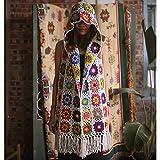 MOLINGXUAN Ganchillo de Boho Retro Casual Pura Lana Hechos a Mano Pastoral Viajes Viento Boho Bufanda Hecha a Mano de la Borla de la Bufanda del Sombrero Sombrero del Mago,B