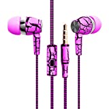 Design Nylon Braided Crack Earphone Cloth Rope Earpieces Stereo Bass MP3 Music Headset with Microphone for Cellphone MP3 MP4 (Pink)