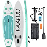 FaaFuu Inflatable Stand Up Paddle Board with SUP Accessories & Backpack, Non-Slip Deck, Waterproof Bag, Leash, Paddle and Hand Pump