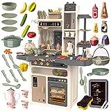 Kinderplay Kinderküche Spielküche Spielzeugküche Küchenset - Licht, Wasser, Dampf, Ton, 65 Küchenzubehör, Die Höhe beträgt 93,5 cm vom Boden bis zur Arbeitsplatte 46cm, KP3297