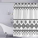 YISUN Anti-Schimmel Duschvorhang, Anti-Bakteriell Duschvorhang, waschbar mit 12 Duschvorhangringen (Schwarz/Dunkelgrau)