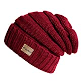 Ellames Winter Beanie Knit Hats for Men & Women Warm Polar Fleece Skull Cap Unisex Burgundy