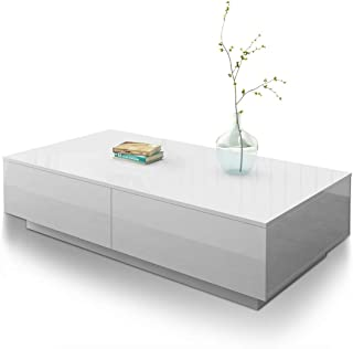 Coffee Table End Table 4 Drawers Storage Shelf High Gloss Wooden Cabinet Living Room Modern Furniture White 95cm